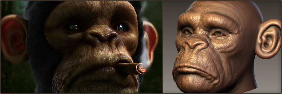 Monkey - Digital Sculpting, Texturing, Look Dev