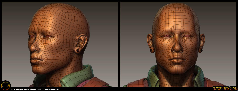 Eddy Raja | Zbrush Wireframe Head