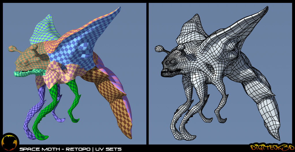 Space Moth | Wireframe Retopo